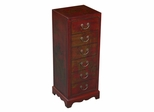 "36"" Antique Style Storage / Hall Table in Red Leather - frc5048"