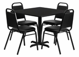 36'' Black Laminate Table Set with 4 Black Trapezoidal Back Banquet Chairs - HDBF1009-GG