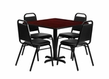 36'' Mahogany Table Set with 4 Black Trapezoidal Back Banquet Chairs - HDBF1010-GG