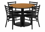 36'' Round Natural Table Set with 4 Metal Chairs - RSRB1031-GG