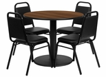 36'' Round Walnut Table and 4 Black Trapezoidal Back Banquet Chairs - RSRB1004-GG