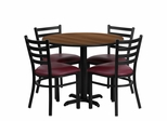 36'' Round Walnut Table Set with 4 Burgundy Vinyl Seat Chairs - HDBF1008-GG