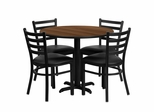 36'' Round Walnut Table Set with 4 Ladder Back Metal Chairs - HDBF1032-GG