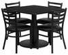 36'' Square Black Table Set with 4 Black Vinyl Seat Chairs - RSRB1013-GG