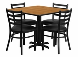 36'' Square Natural Table Set with 4 Ladder Back Metal Chairs - Black Vinyl Seat - HDBF1015-GG