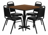 36'' Square Walnut Laminate Table Set, 4 Black Trapezoidal Back Banquet Chairs - HDBF1012-GG