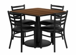 36'' Square Walnut Laminate Table Set with 4 Metal Chairs - RSRB1016-GG