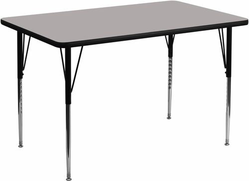 36''W x 72''L Rectangular Activity Table, 1.25'' Thick High Pressure Grey Laminate Top & Standard Height Adjustable Legs - XU-A3672-REC-GY-H-A-GG