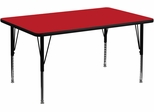 36''W x 72''L Rectangular Activity Table, 1.25'' Thick High Pressure Red Laminate Top & Height Adjustable Pre-School Legs - XU-A3672-REC-RED-H-P-GG