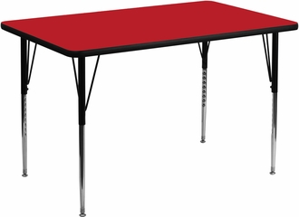 36''W x 72''L Rectangular Activity Table, 1.25'' Thick High Pressure Red Laminate Top & Standard Height Adjustable Legs - XU-A3672-REC-RED-H-A-GG