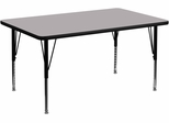 36''W x 72''L Rectangular Activity Table, Grey Thermal Fused Laminate Top & Height Adjustable Pre-School Legs - XU-A3672-REC-GY-T-P-GG