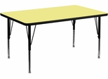 36''W x 72''L Rectangular Activity Table, Yellow Thermal Fused Laminate Top & Height Adjustable Pre-School Legs - XU-A3672-REC-YEL-T-P-GG