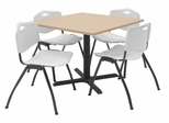 "36""x36"" Table and 4 ""M"" Stack Chairs Set - TBS36BESC47"