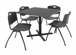 "36""x36"" Table and 4 ""M"" Stack Chairs Set - TBS36GYSC47"