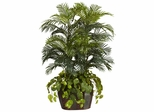 4.5' Double Areca with Vase and Pothos Silk Plant - Nearly Natural - 6634