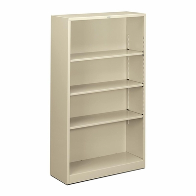 4 Shelf Metal Bookcase - Putty - HONS60ABCL