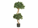 4' Sweet Bay Double Ball Topiary Silk Tree in Green - Nearly Natural - 5233