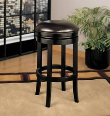 """404 26"""" Backless Swivel Barstool in Brown Leather / Espresso - Armen Living - LCMBS404BAES26"""