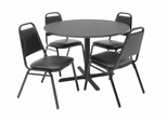 42 Inch Round Table and 4 Restaurant Stackers Set - TBR42GYSC29BK