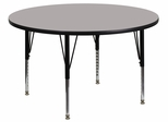 42'' Round Activity Table, 1.25'' Thick High Pressure Grey Laminate Top & Height Adjustable Pre-School Legs - XU-A42-RND-GY-H-P-GG