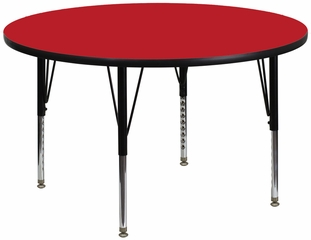 42'' Round Activity Table, 1.25'' Thick High Pressure Red Laminate Top & Height Adjustable Pre-School Legs - XU-A42-RND-RED-H-P-GG