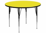 42'' Round Activity Table, 1.25'' Thick High Pressure Yellow Laminate Top & Standard Height Adjustable Legs - XU-A42-RND-YEL-H-A-GG