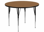 42'' Round Activity Table, Oak Thermal Fused Laminate Top & Standard Height Adjustable Legs - XU-A42-RND-OAK-T-A-GG