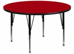 42'' Round Activity Table, Red Thermal Fused Laminate Top & Height Adjustable Pre-School Legs - XU-A42-RND-RED-T-P-GG