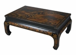 "44"" Antique Style Heirloom Mandarin Coffee Table in Black Leather - frc5039"