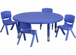 45'' Round Adjustable Plastic Activity Table Set in Blue - YU-YCX-0053-2-ROUND-TBL-BLUE-E-GG