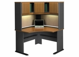 """48"""" Corner Desk and Hutch Set - Series A Natural Cherry Collection - Bush Office Furniture - WC57466-67"""