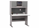 """48"""" Desk and Hutch Set - Series A Pewter Collection - Bush Office Furniture - WC14548-49"""