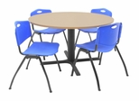 "48 Inch Round Table and 4 ""M"" Stack Chairs Set - TBR48BESC47"