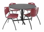 "48 Inch Round Table and 4 ""M"" Stack Chairs Set - TBR48GYSC47"