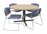 48 Inch Round Table and 4 Zeng Stack Chairs Set - TBR48BESC44