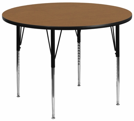 48'' Round Activity Table, Oak Thermal Fused Laminate Top & Standard Height Adjustable Legs - XU-A48-RND-OAK-T-A-GG