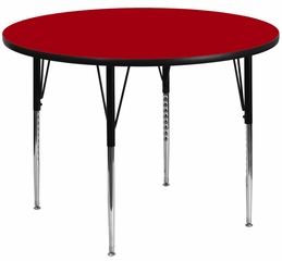 48'' Round Activity Table, Red Thermal Fused Laminate Top & Standard Height Adjustable Legs - XU-A48-RND-RED-T-A-GG