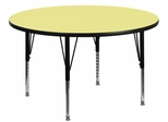 48'' Round Activity Table, Yellow Thermal Fused Laminate Top & Height Adjustable Pre-School Legs - XU-A48-RND-YEL-T-P-GG