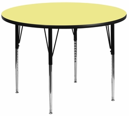 48'' Round Activity Table, Yellow Thermal Fused Laminate Top & Standard Height Adjustable Legs - XU-A48-RND-YEL-T-A-GG