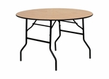 "48"" Round Wood Folding Banquet Table with Clear Coated Finished Top - YT-WRFT48-TBL-GG"