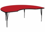 48''W x 72''L Kidney Shaped Activity Table, 1.25'' Thick High Pressure Red Laminate Top & Height Adjustable Pre-School Legs - XU-A4872-KIDNY-RED-H-P-GG