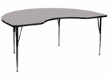 48''W x 72''L Kidney Shaped Adjustable Activity Table with High Pressure Grey Top - XU-A4872-KIDNY-GY-H-A-GG