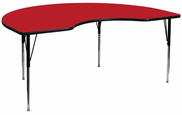 48''W x 72''L Kidney Shaped Adjustable Activity Table with High Pressure Red Top - XU-A4872-KIDNY-RED-H-A-GG