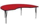 48''W x 96''L Kidney Shaped Activity Table, 1.25'' Thick High Pressure Red Laminate Top & Height Adjustable Pre-School Legs - XU-A4896-KIDNY-RED-H-P-GG