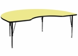 48''W x 96''L Kidney Shaped Activity Table in Yellow with Height Adjustable Pre-School Legs - XU-A4896-KIDNY-YEL-T-P-GG