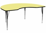 48''W x 96''L Kidney Shaped Activity Table with Adjustable Legs in Yellow - XU-A4896-KIDNY-YEL-T-A-GG