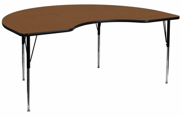 48''W x 96''L Kidney Shaped Activity Table with High Pressure Oak Laminate Top - XU-A4896-KIDNY-OAK-H-A-GG