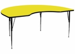 48''W x 96''L Kidney Shaped Activity Table with High Pressure Yellow Laminate Top - XU-A4896-KIDNY-YEL-H-A-GG