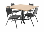 "48""x48"" Table and 4 Restaurant Stackers Set - TBS48BESC29BK"