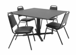 "48""x48"" Table and 4 Restaurant Stackers Set - TBS48GYSC29BK"